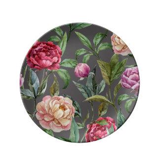 Placa decorativa floral bohemia de la porcelana plato de porcelana
