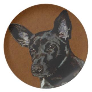 Placa decorativa hermosa del perro plato de cena