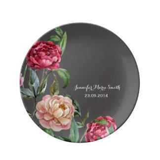 Placa decorativa personalizada floral bohemia plato de porcelana