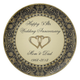 Placa del aniversario de boda de oro platos