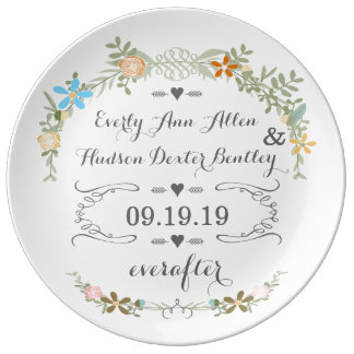 Placa del aniversario de la fecha del boda de la plato de porcelana