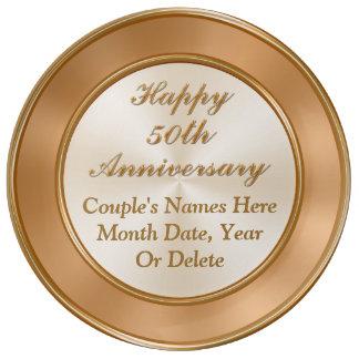 Placa del aniversario de los nombres y de la fecha plato de porcelana