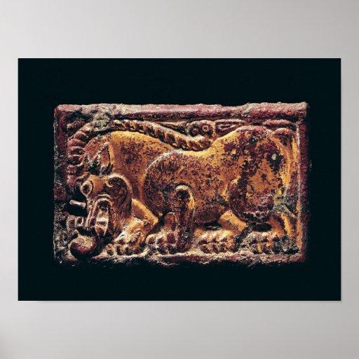 Placa del estilo de Ordos, 3ro-2do siglo A.C. Impresiones