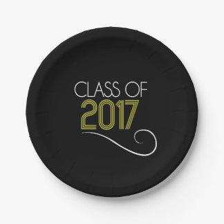 Placa del fiesta del graduado - 2017 plato de papel