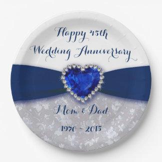 Placa del fiesta del papel de aniversario de boda plato de papel