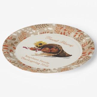 Placa del follaje de otoño de la cosecha del otoño plato de papel