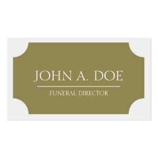Placa del oro del director de funeraria/blanco clá plantillas de tarjeta de negocio
