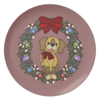 Placa del perro 3 del navidad plato de cena