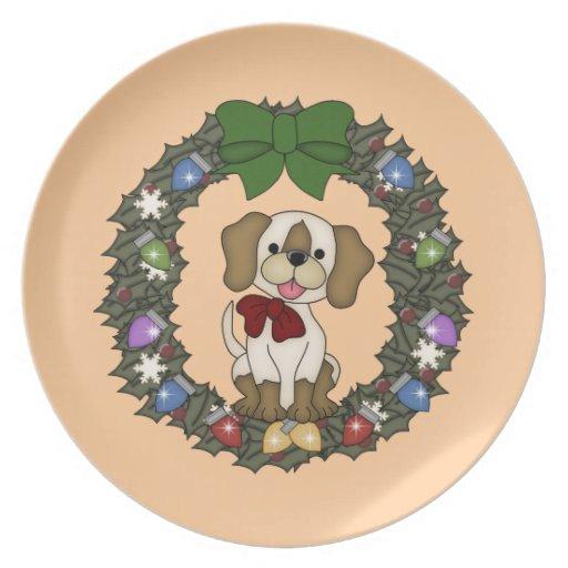 Placa del perro #4 del navidad plato de cena