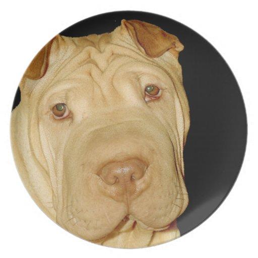 Placa del perro de Shar Pei Platos De Comidas