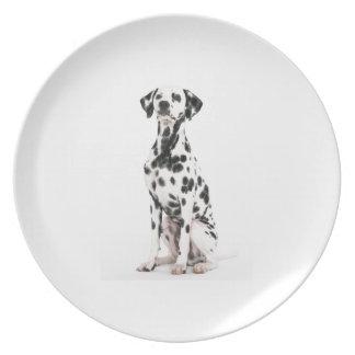 Placa del perro del fuego plato de comida