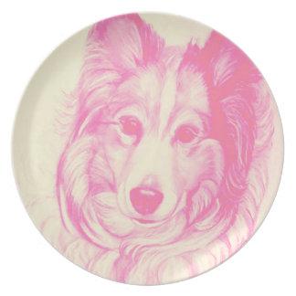 Placa del perro pastor de Shetland con las Plato De Comida