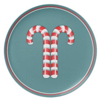 Placa del rojo de los bastones de caramelo plato para fiesta