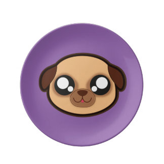 Placa divertida del perro de Kawaii Plato De Porcelana