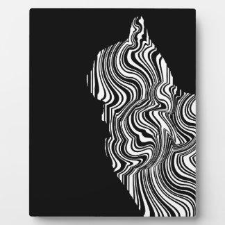 Placa Expositora Abstract Black and White Cat Swirl Monochroom