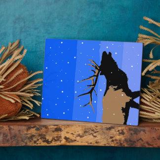 Placa Expositora Alces de Bugling en el invierno - arte original de