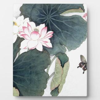 Placa Expositora Arte asiático de la mariposa de la flor del rosa