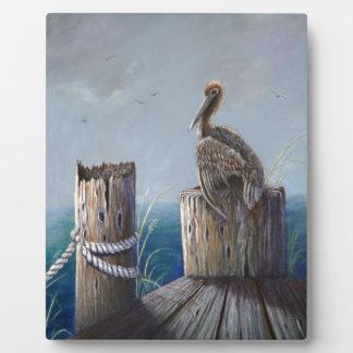 Placa Expositora Arte de acrílico del océano del pelícano de Brown