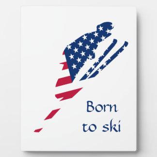 Placa Expositora Bandera de los E.E.U.U. del americano de esquí de