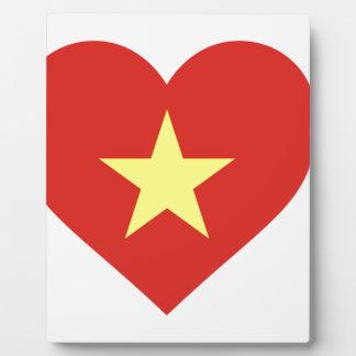 Placa Expositora Bandera de Vietnam - vàng del sao del đỏ del amor