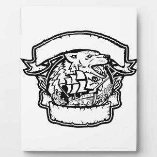 Placa Expositora Bandera del barco pirata del lobo retra