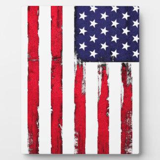 Placa Expositora Bandera patriótica americana del Grunge