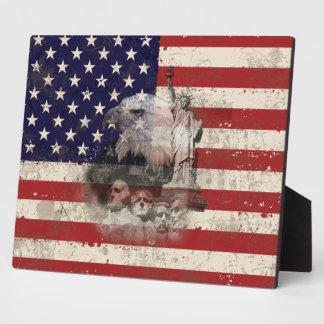 Placa Expositora Bandera y símbolos de Estados Unidos ID155