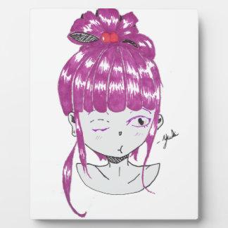 Placa Expositora chica adolescente del pelo rosado del chibi