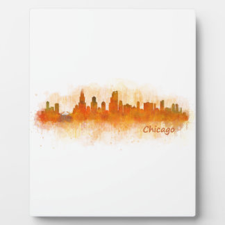 Placa Expositora chicago skyline watercolor cityscape v03