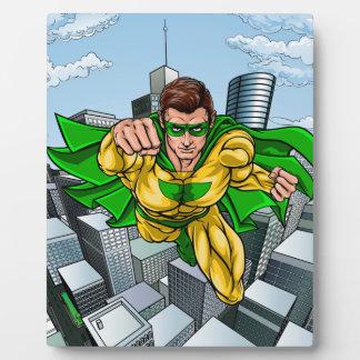 Placa Expositora Ciudad del super héroe del vuelo del cómic