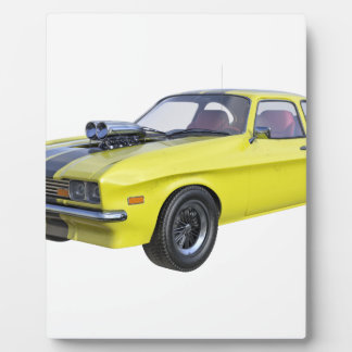 Placa Expositora coche del músculo de los años 70 en amarillo y
