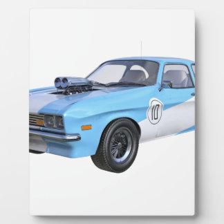 Placa Expositora coche del músculo de los años 70 en azul y blanco