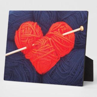 Placa Expositora Corazón lindo de las lanas con la fotografía de la