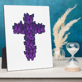Placa Expositora Cruz púrpura 8x10 de la mariposa con el caballete