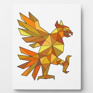 Placa Expositora Cuauhtli Glifo Eagle que lucha el polígono bajo de