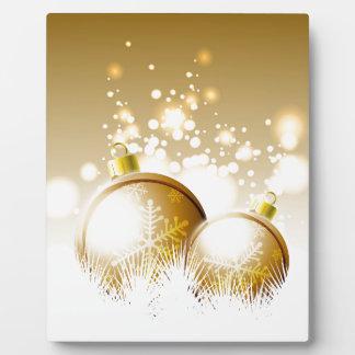 Placa Expositora Decoración marrón de oro del Año Nuevo con nieve