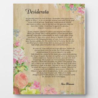 Placa Expositora Desiderátums en el panel de madera rústico con el