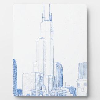 Placa Expositora Dibujo abstracto del No1 de Chicago