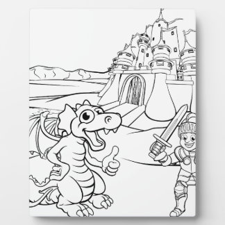 Placa Expositora Dibujo animado del castillo del dragón y del