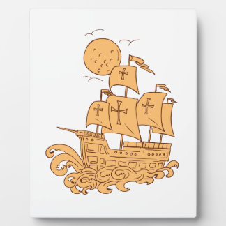 Placa Expositora Dibujo de la luna del velero de Caravel