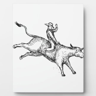Placa Expositora Dibujo del vaquero del rodeo del montar a caballo