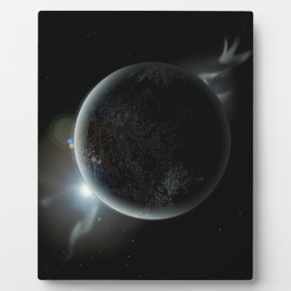 Placa Expositora ejemplo negro del planeta 3d en el universo