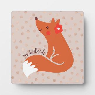 Placa Expositora El Fox lindo con la flor/se ruboriza fondo del