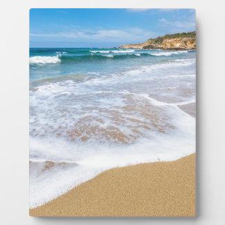 Placa Expositora El mar de la playa de Sandy agita y montaña en la
