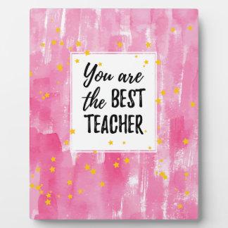 Placa Expositora El mejor profesor - acuarela amarilla rosada de la