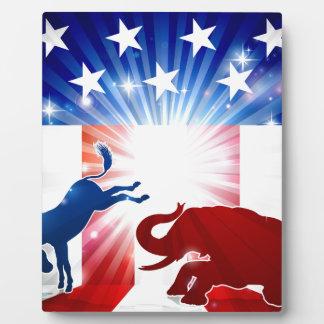 Placa Expositora Elefante que lucha del burro de la silueta