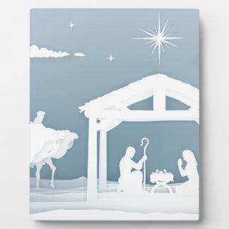 Placa Expositora Estilo de Papercraft de la escena del navidad de