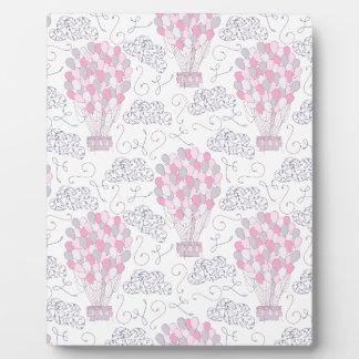 Placa Expositora Globos del aire caliente en arte rosado del cuarto
