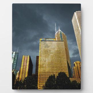 Placa Expositora Horizonte de Chicago antes de una tormenta