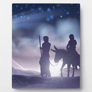 Placa Expositora Ilustracion Maria y José del navidad de la